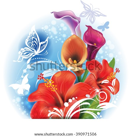 Bouquet of red Hibiscus and Calla flowers - stock vector