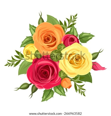 Bouquet of red, orange and yellow flowers. Vector illustration. - stock vector