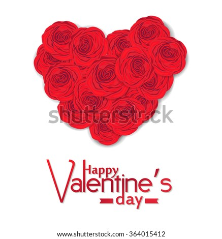 Bouquet of red roses in the shape of heart  and Happy Valentine's day lettering on white background.