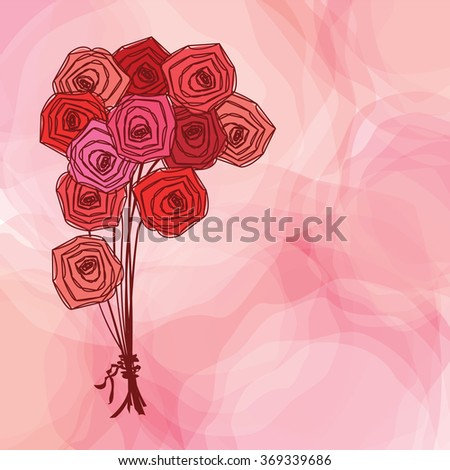 Bouquet of red roses on pink abstract background. Vector illustration. - stock vector