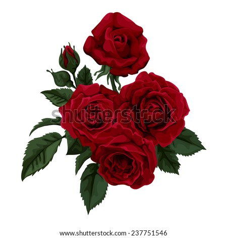 Bouquet of  roses  isolated on white. Perfect for background greeting cards and invitations of the wedding, birthday, Valentine's Day, Mother's Day. - stock vector