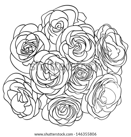 Rose Bouquet Drawing Bouquet of Roses Outline