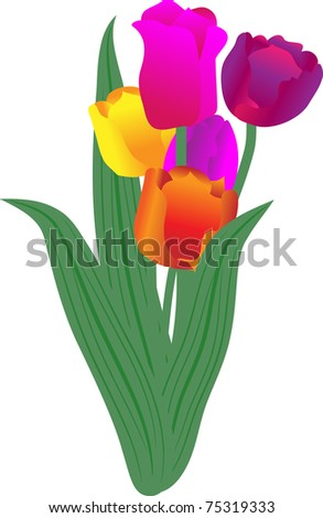 Bouquet of spring colors - tulips with a decorative tape