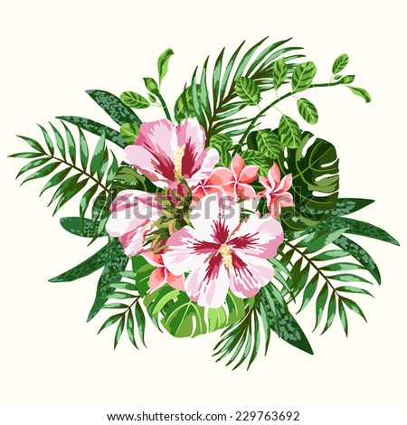 Bouquet of tropical flowers and leaves. Plumeria, hibiscus, monstera, palm. Vector illustration. - stock vector