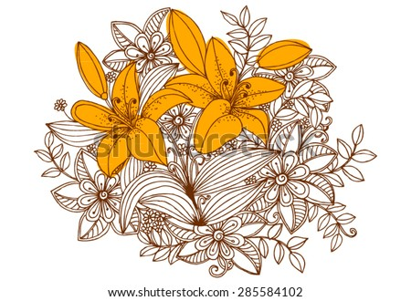 Bouquet of wild flowers and lilies. Doodle floral illustration - stock vector