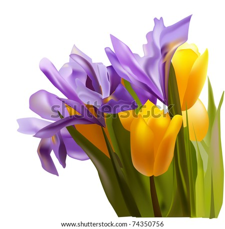 bouquet of yellow and violet flowers
