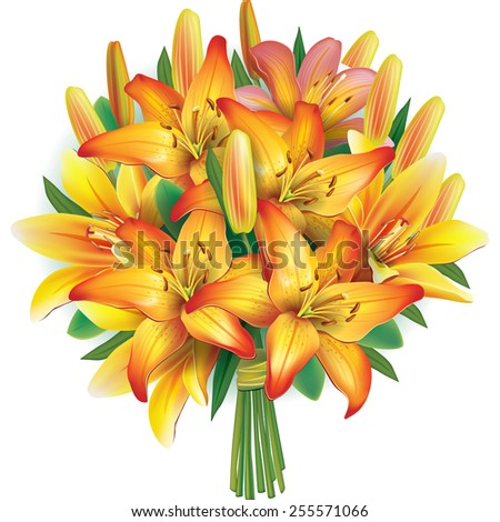 Bouquet of yellow lilies - stock vector