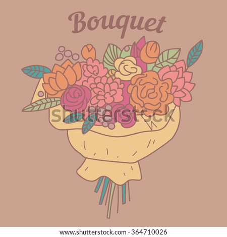 Bouquet.  Vector isolated illustration.
