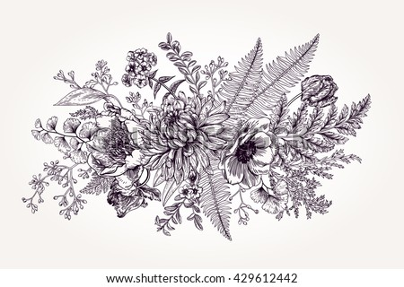 Bouquet with a garden flowers and leaves in vintage style. Vector botanical illustration. Chrysanthemum, tulip, peony, anemone, ferns, boxwood. Design elements. Black and white. - stock vector