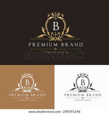 Boutique Brand,crests logo,b letter logo,crown,king,hotel,fashion,luxury brand logo template - stock vector