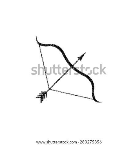 Bow and Arrow   - black vector icon - stock vector