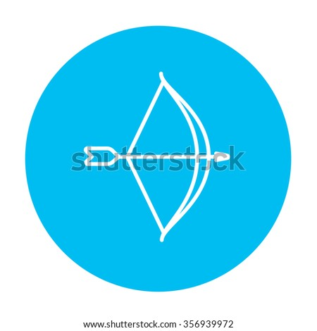 Bow and arrow line icon for web, mobile and infographics. Vector white icon on the light blue circle isolated on white background. - stock vector