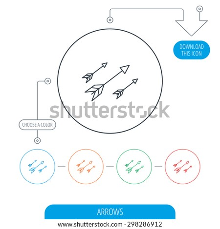 Bow arrows icon. Hunting sport equipment sign. Archer weapon symbol. Line circle buttons. Download arrow symbol. Vector - stock vector