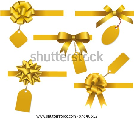 Bow collection with price tag. Vector - stock vector