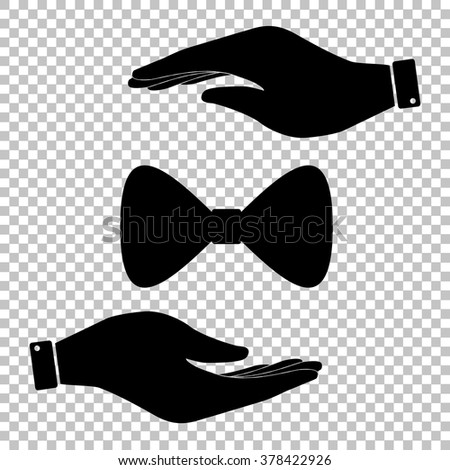 Bow Tie icon. Save or protect symbol by hands. - stock vector