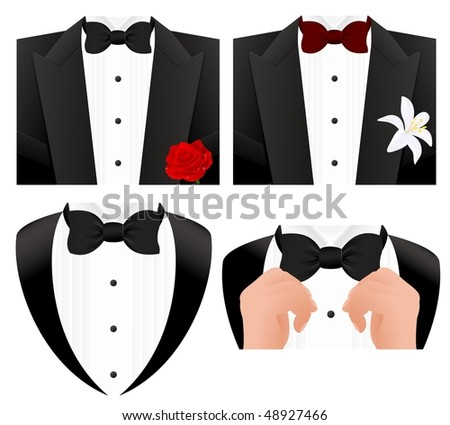 Bow tie set, vector illustration - stock vector