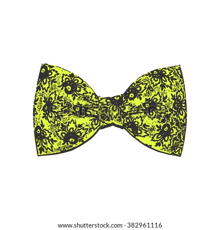 bow tie. yellow color. vector illustration - stock vector