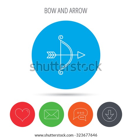 Bow with arrow icon. Valentine weapon sign. Mail, download and speech bubble buttons. Like symbol. Vector - stock vector