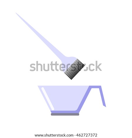 Bowl and brush for hair coloring. Flat icon. Isolated objects on white background. Vector illustration.