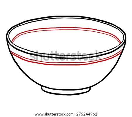 bowl / cartoon vector and illustration, hand drawn style, isolated on white background. - stock vector