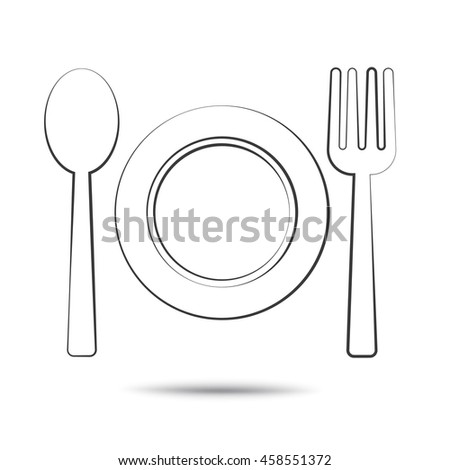 bowl fork and spoon food icon symbol