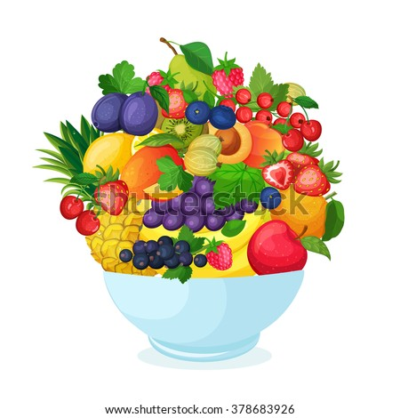 Bowl of cartoon fresh  fruit and berries.  Apple pear banana mango currant strawberry pineapple cherry plum peach vector illustration.  - stock vector