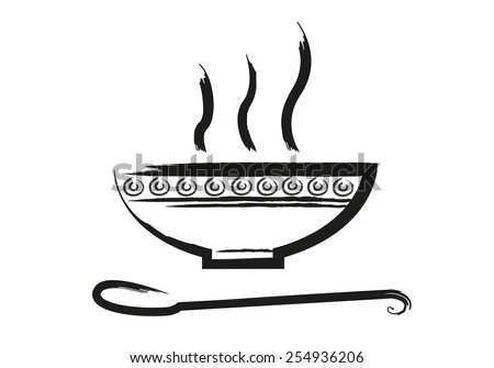 Bowl of Hot Soup with spoon Line Art. Icon isolated on white Backdrop. Editable EPS10 Vector and jpg illustration. - stock vector