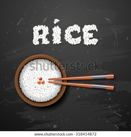 Bowl of white rice with chopsticks on  blackboard - stock vector