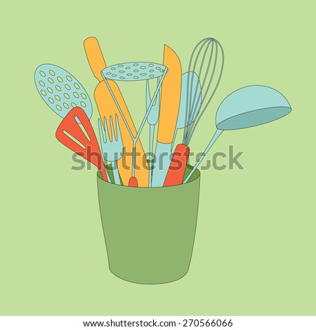 Bowl with kitchenware. Vector illustration.