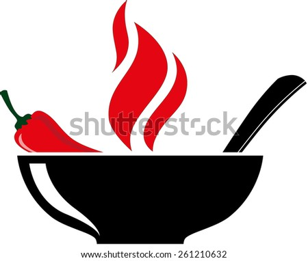 Bowl with red hot chili pepper and burning soup. Vector illustration - stock vector