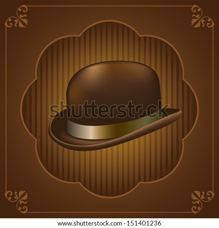 Bowler hat. Vector illustration. - stock vector
