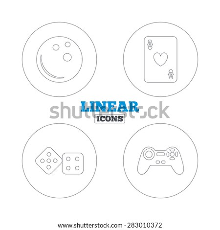Bowling and Casino icons. Video game joystick and playing card with dice symbols. Entertainment signs. Linear outline web icons. Vector