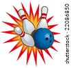 Bowling ball and falling bowling pins. - stock photo