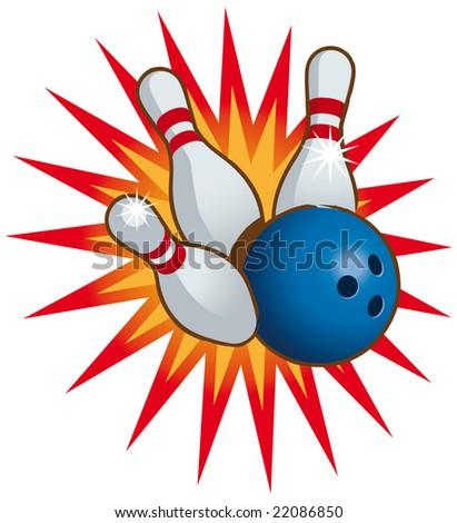 Bowling ball and falling bowling pins. - stock vector