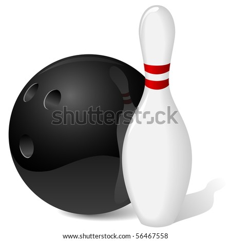 Bowling ball and pin isolated on white. - stock vector
