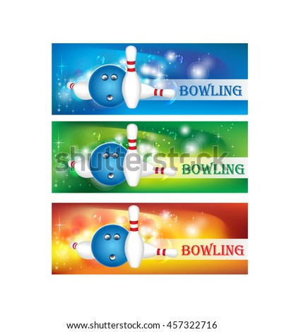 Bowling ball and pins on colored backgrounds - stock vector