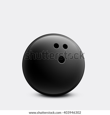 Bowling ball. Black shiny bowling ball isolated on white background.  - stock vector