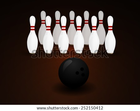 Bowling Ball crashing and skittles. - stock vector
