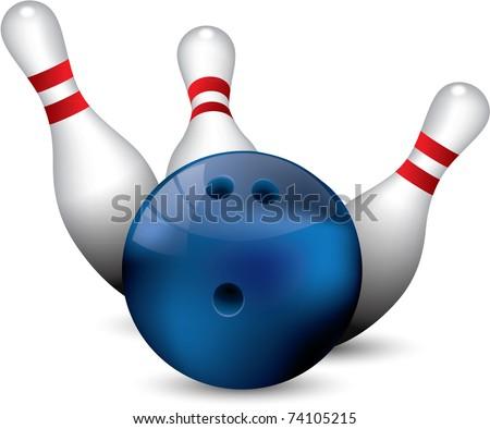 Bowling ball crashing into the pins - stock vector