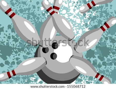 Bowling Ball crashing into the pins on vintage background. - stock vector