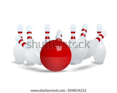 Bowling ball crashing into the pins. vector - stock vector