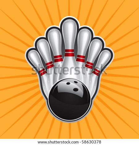 Bowling Ball Design Element Set 2 Vector Drawing - stock vector