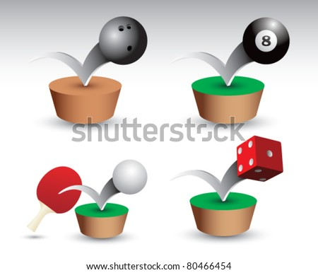Bowling ball, eight ball, ping pong paddle and ball, and red dice bouncing on green platform - stock vector