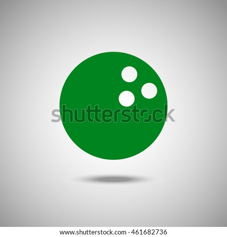 Bowling ball icon. Flat style. Grey background. Vector illustration.