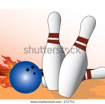 Bowling ball on fire hitting pins - stock vector