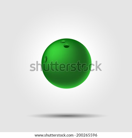 Bowling ball 8 on white background with shadow - stock vector