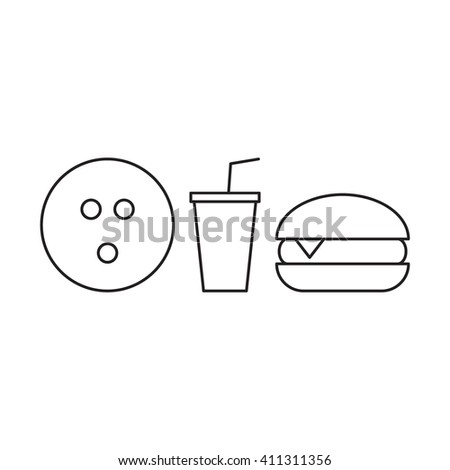 Bowling ball with burger and soda cup. Outline vector icon on white background. For bowling fans.