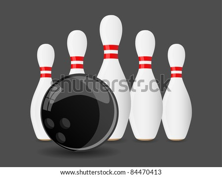 Bowling ball with pins. Vector. - stock vector