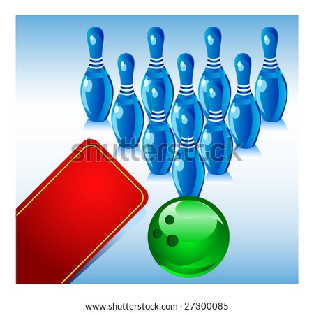 Bowling, blue size and green sphere, game for rest, vector illustration