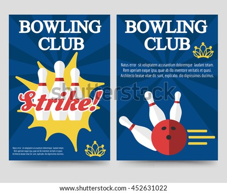 Bowling Tournament Poster Flyer Abstract Vector Stock Vector